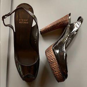Auth Stuart Weitzman Patent Leather Peep Toe Heels